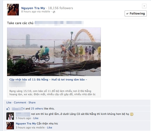 Trà My Next Top liên tục cập nhật thông tin về cơn bão này tại Đà Nẵng