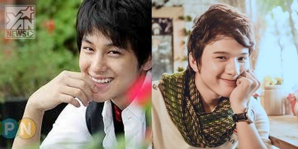 Khắc Minh (trái) sở hữu gương mặt và nụ cười khá giống với Kim Bum (phải)