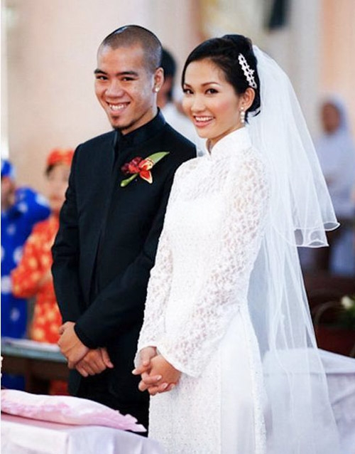 Kim Hiền và DJ Phong trong đám cưới