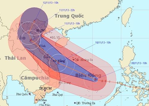 Bão Haiyan đang hướng vào Quảng Ngãi