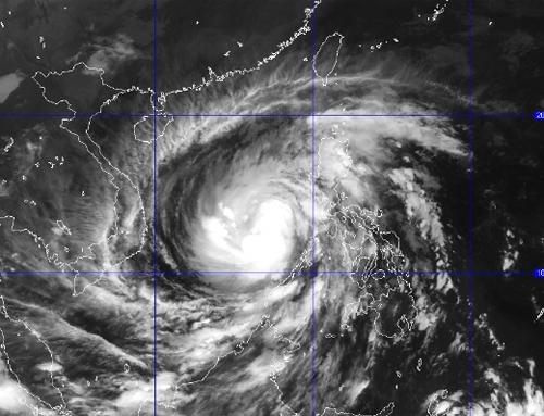 Tầm ảnh hưởng của siêu bão Haiyan. Ảnh vệ tinh chụp Haiyan của nchmf ngày 9/11.