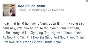 Noo Phước Thịnh đăng tải tấm ảnh thông báo từ hãng hàng không về việc chuyến bay từ TP.HCM đi Vinh của anh bị hủy vì cơn bão Haiyan