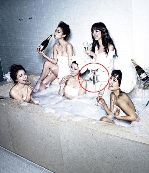 Trong tấm ảnh trên tạp chí, Park Shi Yeon mất luôn phần thân dưới.