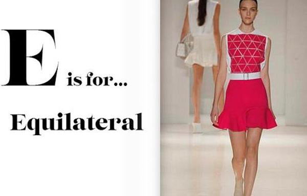 Họa tiết hình học là một xu hướng mới trong năm nay, được lăng xê chủ yếu bởi Victoria Beckham. Bộ sưu tập xuân hè 2014 của cô gồm nhiều mẫu váy in hình tam giác đều chằn chặn tưởng như cứng nhắc nhưng vẫn thanh lịch, nữ tính.