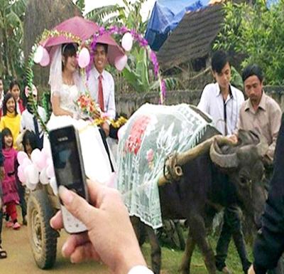 Đôi bạn Đào Văn Đức (21 tuổi) và Hồ Thị Hoa (23 tuổi) ở xã Nam Anh (Nam Đàn, Nghệ An) hạnh phúc trong ngày cưới với chiếc xe trâu.