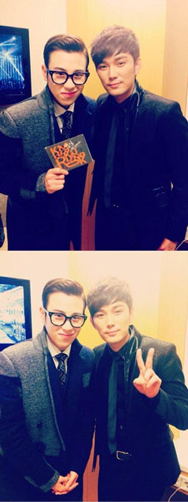 PO ( Block B) khoe anh chụp cùng VOSKim Kyung Rok ở hậu trường của buổi phát sóng ngày 9-1 củaMnet M COUNTDOWN