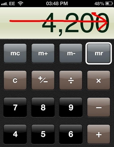 Trong quá trình sử dụng ứng dụng máy tính (Calculator), bạn có thể xóa nhanh một số gõ thừa khi nhập bằng cách lướt tay từ trái sang phải.