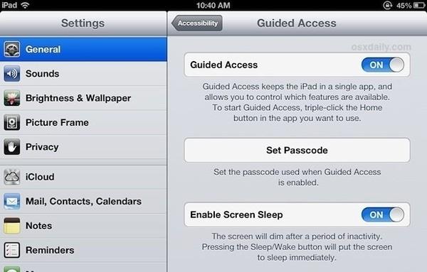 Khi cho phép trẻ em sử dụng iPhone hoặc iPad của mình, bạn được khuyến cáo hãy kích hoạt chế độ Guided Access. Theo đó, khi bật chế độ này, Guided Access sẽ chạy thiết bị dưới dạng một ứng dụng đơn nhất hoặc chỉ cho phép nhấn vào một số nút nhất định để tránh đứa trẻ xóa nhầm dữ liệu quan trọng hay vô tình sử dụng các ứng dụng không phù hợp. Để kích hoạt tính năng nêu trên, đơn giản hãy vào Settings > General > Accessibility > Guided Access. Sau khi chế độ được mở, bạn hãy mở ứng dụng bất kì và nhấn ba lần phím Home để áp dụng Guided Access cho nó.