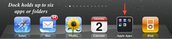 """Thanh dock trên iPad có thể chứa 6 biểu tượng, tuy nhiên, bạn có thể nâng """"sức chứa"""" của nó thêm rất nhiều nếu sử dụng các """"folders"""". Lúc này, bạn có thể truy cập nhiều ứng dụng hơn và nhanh hơn từ thanh dock."""