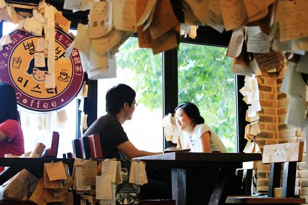 Khung cảnh lãng mạn ở quán cà phê Tin Nhắn, Hàn Quốc