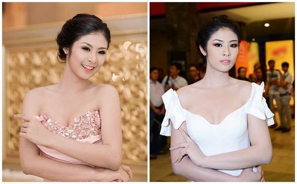 Hoa hậu Ngọc Hân lộ nhược điểm vòng 1 lép kẹp khi diện đầm cúp ngực.