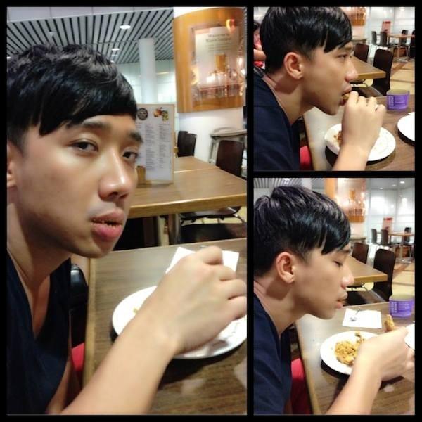 """Trấn Thành vừa đi du lịch cùng người yêu trở về Việt Nam, anh chàng bị Mai Hồ chụp lén khi đang """"dồn hết tâm sức"""" cho việc...ăn."""