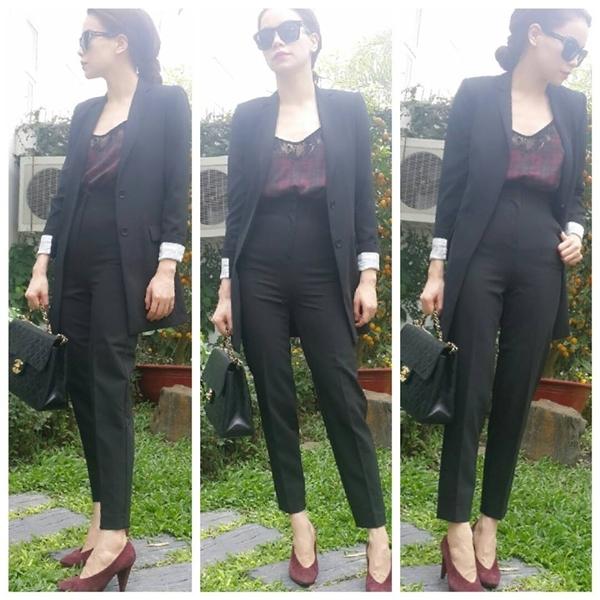 Hồ Ngọc Hà diện style thời trang công sở, tuy nhiên trông cô vẫn rất sang trọng và cuốn hút.