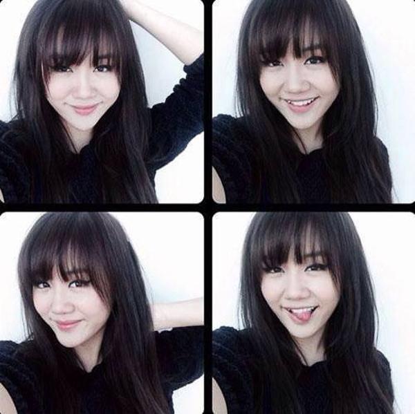 Với kiểu mái này, Văn Mai Hương trẻ trung xinh đẹp biết bao so với thời kỳ cô còn để tóc mái dài.