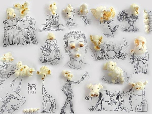 Bỏng ngô mà chúng ta ăn hằng ngày cũng có thể tạo nên những hình ảnh vui nhộn.