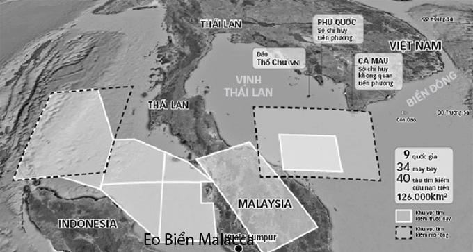 Khu vực tìm kiếm chiếc máy bay mất tích MH370 và vị trí eo biển Malacca - Đồ họa: Như Khanh