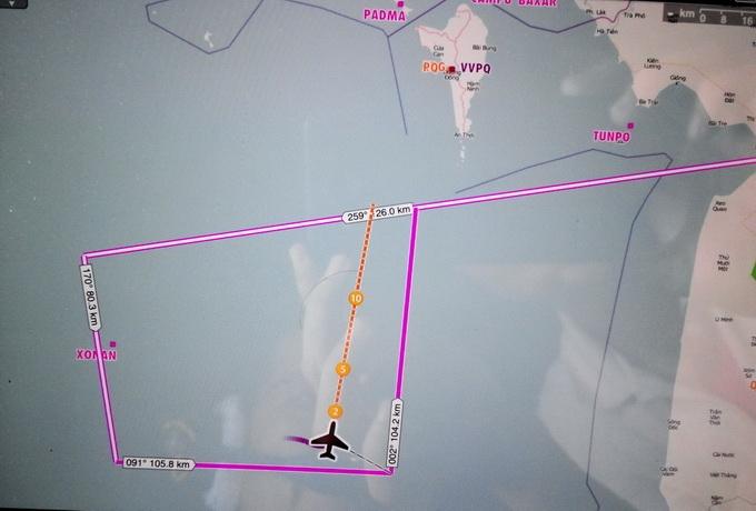 Sơ đồ đường bay tìm kiếm sáng nay của các máy bay AN 26 - Ảnh: Viễn Sự