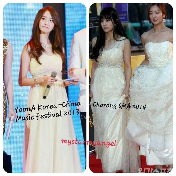 Cũng tại Seoul Music Awards 2014, Chorong (thứ hai từ phải sang) chọn trùng chiếc váy màu vàng nhạt mà Yoona (trái) đã mặc tại đêm nhạc hữu nghị Trung - Hàn 2013.