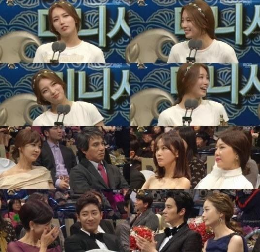 Suzy khó nhọc nói hết phần diễn văn nhận giải, trong khi khán giả không hiểu tại sao