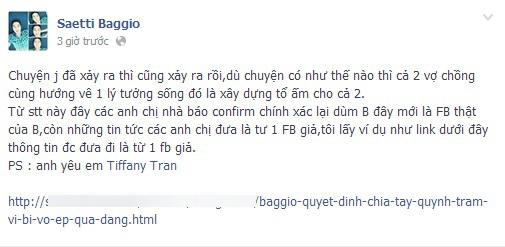 Baggio chính thức lên tiếng về việc 1 số trang báo mạng đưa thông tin sai lệch từ 1 trang Facebook giả