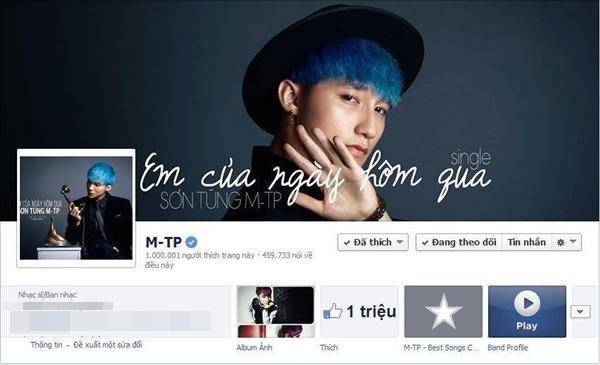Sơn Tùng M-Tp thích thú và hạnh phúc khi trang fanpage của mình đạt được mốc 1 triệu like.