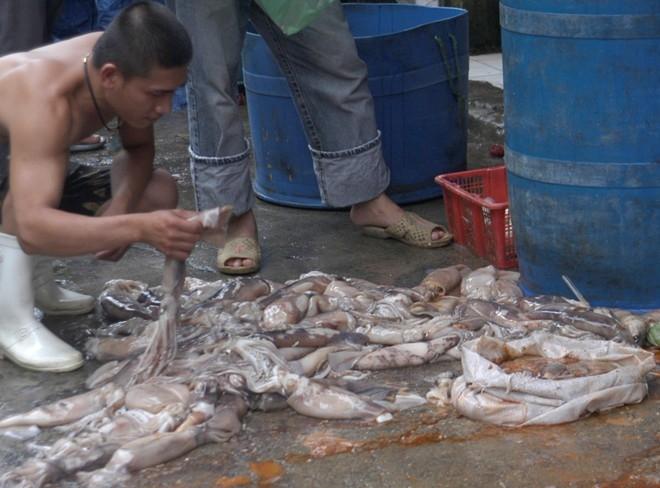 5 năm trước, Phòng cảnh sát môi trường (Công an Hà Nội) cũng kiểm tra, phát hiện ki ốt thủy sản trong chợ Long Biên, có hành vi tẩy trắng cá mực kém chất lượng bằng hóa chất. Sau một thời gian tạm lắng, hành vi này tiếp tục diễn ra.