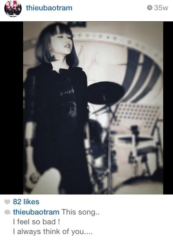 Ngày 15/8/2013 Thiều Bảo Trâm chia sẻ trên instagram của mình.