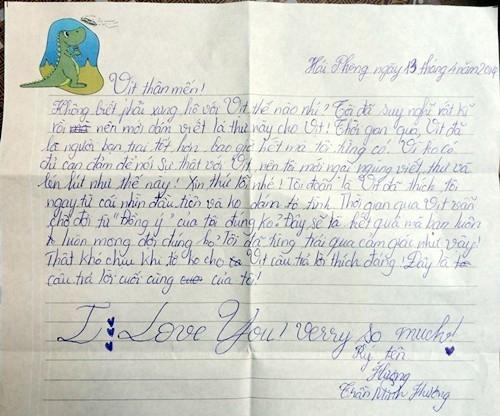 Thư tỏ tình của cô bé lớp 5 dành cho bạn trai biệt danh Vịt.