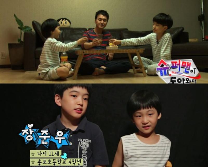 Nam diễn viên Jang Hyun Sung cùng cậu con trai lớn Joon Woo và cậu con trai nhỏ Joon Suh.