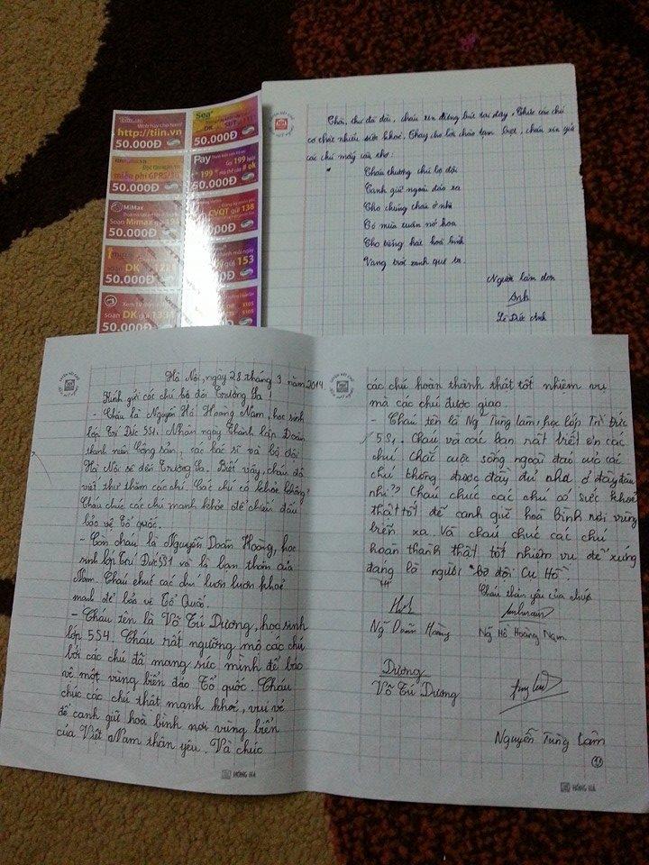 Cảm động với những lá thư gửi bộ đội Trường Sa của học sinh tiểu học