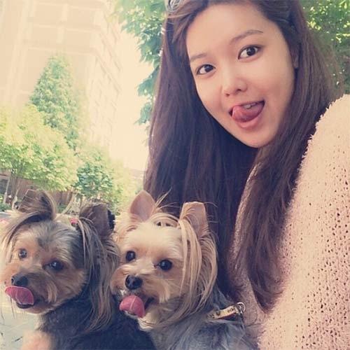 Sooyoung làm trò cùng hai chú cún dễ thương