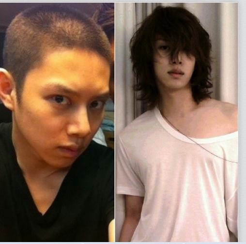 Heechul đăng hình tóc ngắn và tóc dài và hỏi rằng fan thích anh để tóc nào