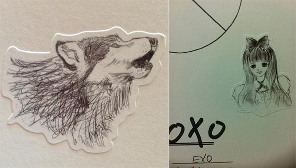 """D.O EXOchính là tác giả của hình vẽ """"mỹ nhân"""" và """"sói"""" trên bìa album XOXO"""