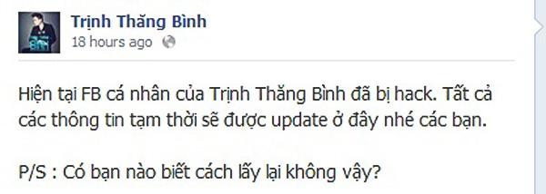 """Fanpage chính thức của Trịnh Thăng Bình thông báo về việc trang cá nhân của anh chàng đã bị mất và """"cầu cứu"""" cách lấy lại tài khoản"""