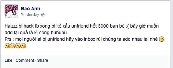 """Bảo Anh bị hack facebook, cô nàng phải lập một tài khoản mới, đồng thời tìm cách lấy lại tài khoản cũ của mình. Tuy nhiên khi lấy lại được thì hầu như """"friends"""" của Bảo Anh đã bị """"remove"""" hết"""