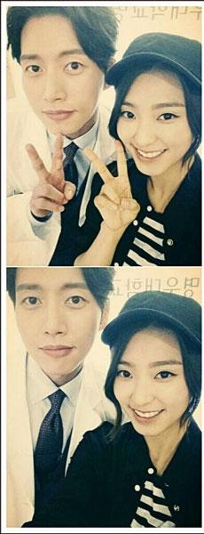 """Bora khoe hình chụp cùng nam diễn viên Park Hae Jin với nội dung: """"Lần đầu tiên được đóng phim với anh Hae Jin. Em có thể gặp anh lần nữa được không?"""""""