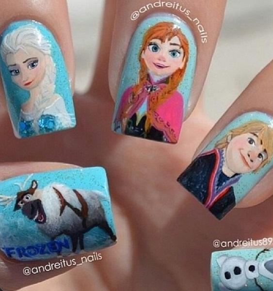 Những mẫu nail hoàn toàn dành cho fan của phim hoạt hình nổi tiếng Frozen
