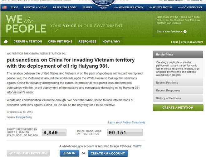 Bản kiến nghị yêu cầu Mỹ trừng phạt Trung Quốc đã nhận được hơn 90.000 chữ ký sau 2 tuần. - Tin sao Viet - Tin tuc sao Viet - Scandal sao Viet - Tin tuc cua Sao - Tin cua Sao