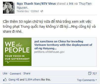 """Ngô Thanh Vân chia sẻ: """"Cần thêm 50 ngàn chữ ký nữa để Nhà Trắng xem xét việc trừng phạt Trung Quốc hay không. Vân đã ký, mọi người cũng ký và share nhé"""". - Tin sao Viet - Tin tuc sao Viet - Scandal sao Viet - Tin tuc cua Sao - Tin cua Sao"""