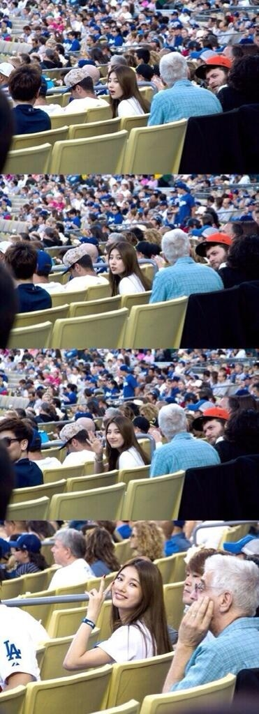 Suzy và Yonghwa rạng rỡ trên sân bóng tại Los Angeles