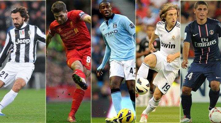 Từ trái sang: Andrea Pirlo - Steven Gerrard - Yaya Toure - Luka Modric - Marco Verratti