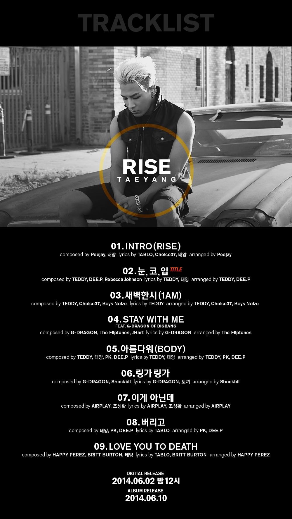 Tracklist các ca khúc trong album mới của Taeyang cũng được công bố vào hôm nay 29/5