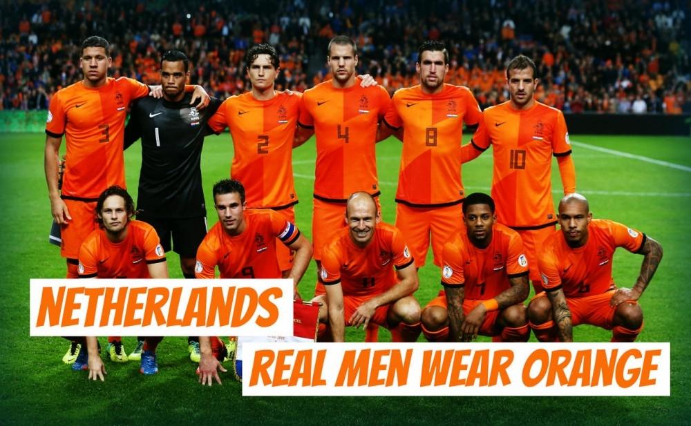 Những người đàn ông đích thực mặc áo màu cam