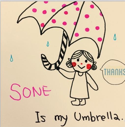 """Sooyoung khoe hình vẽ với nội dung """"Ở Nagoya đang mưa""""."""
