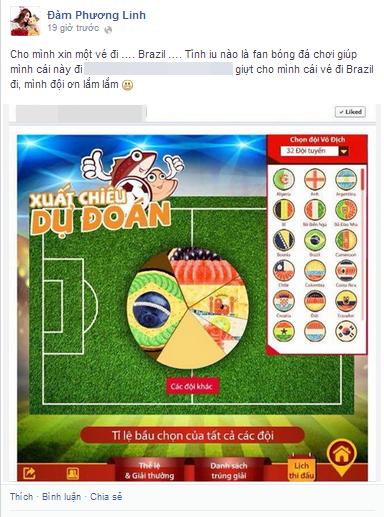 Các cô nàng nếu không thể tham gia đá bóng được thì có thể chơi game về môn thể thao vua nhân mùa World Cup giống như cô nàng Đàm Phương Linh