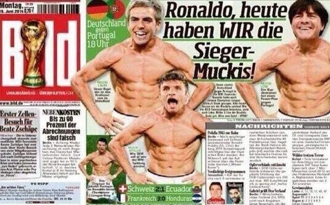 Màn cởi áo của Ronaldo bị người Đức chế lại trên báo của mình
