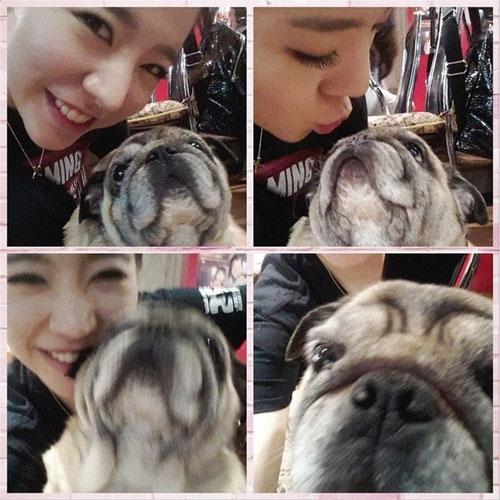 Sunny khoe hình chụp cùng chú cún dễ thương tại Kobe, Nhật Bản.