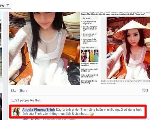 """Angela Phương Trinh đã bị gán những từ như """"thảm họa"""", """"phản cảm"""" vì hình ảnh này. Phương Trinh đã lên tiếng đây chỉ là ảnh ghép, bức ảnh gốc cô gái diện áo dài sexy cũng đã được tiết lộ.  - Tin sao Viet - Tin tuc sao Viet - Scandal sao Viet - Tin tuc cua Sao - Tin cua Sao"""