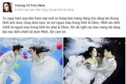 Trúc Diễm cũng từng phản ánh trên trang cá nhân việc một số tờ báo đăng tải những bức hình cưới chụp dưới nước và đề tên cô mặc dù người mẫu trong hình lại là người hoàn toàn khác. - Tin sao Viet - Tin tuc sao Viet - Scandal sao Viet - Tin tuc cua Sao - Tin cua Sao