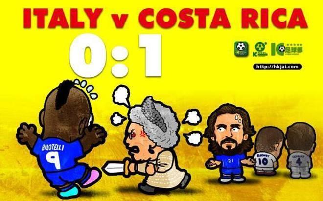 Ảnh chế nữ hoàng Anh hỏi tội Balotelli. Trước trận Italy - Costa Rica, Balotelli tuyên bố muốn được nữ hoàng hôn vào má để thưởng cho việc đánh bại đội bóng Trung Mỹ.